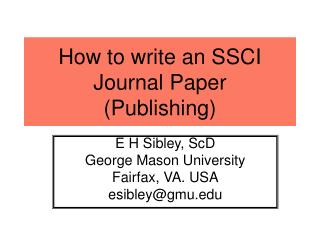How to write an SSCI Journal Paper Publishing