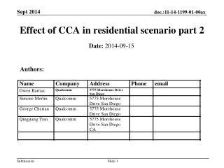 Effect of CCA in residential scenario part 2
