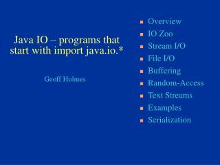Java IO – programs that start with import java.io.*