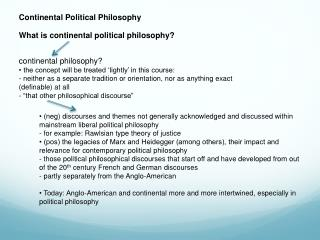 Continental Political Philosophy