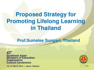 Proposed Strategy for Promoting Lifelong Learning in Thailand