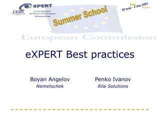 eXPERT Best practices