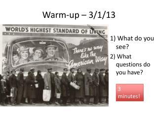 Warm-up – 3/1/13