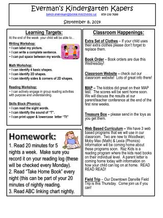 Learning Targets : At the end of the week   your child will be able  to… Writing Workshop:
