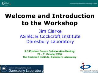 Welcome and Introduction to the Workshop