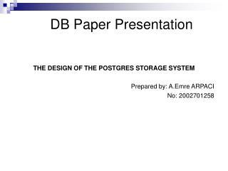 DB Paper Presentation