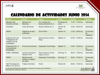 CALENDARIO  DE  ACTIVIDADES  JUNIO  2014