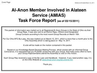 Al-Anon Member Involved in Alateen Service (AMIAS)  Task Force Report  (as of 03/15/2011)