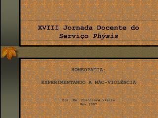 XVIII Jornada Docente do Serviço Phýsis