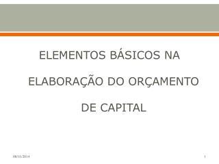 ELEMENTOS BÁSICOS NA ELABORAÇÃO DO ORÇAMENTO DE CAPITAL