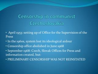 Censorship  in  communist Czechoslovakia