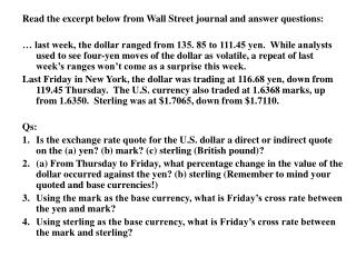 Read the excerpt below from Wall Street journal and answer questions: