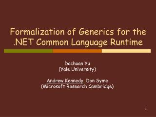 Formalization of Generics for the .NET Common Language Runtime