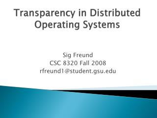 Transparency in Distributed Operating Systems