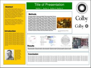 Title of Presentation Author 1 , Author 2 , Author 3, Author 4