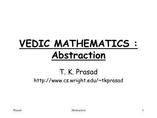 VEDIC MATHEMATICS : Abstraction