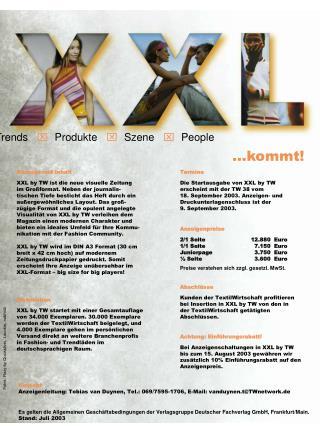 Konzept und Inhalt XXL by TW ist die neue visuelle Zeitung