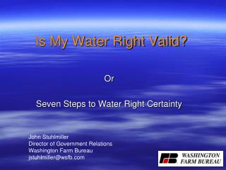 Is My Water Right Valid?