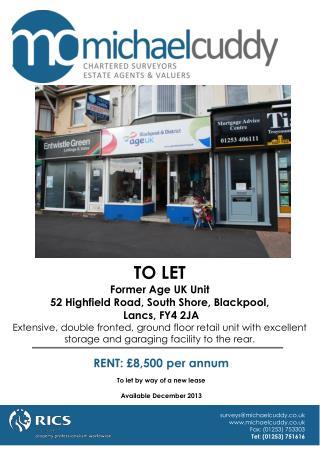 TO LET Former Age UK Unit 52 Highfield Road, South Shore, Blackpool,  Lancs, FY4 2JA