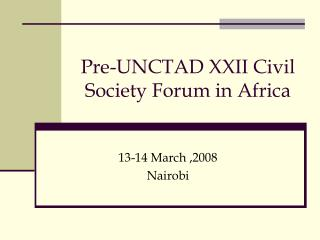 Pre-UNCTAD XXII Civil Society Forum in Africa
