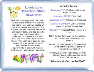 Lovely Lane Preschool/BASE Newsletter