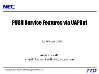 PUSH Service Features via UAPRof