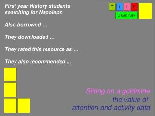 First year History students  searching for Napoleon  Also borrowed … They downloaded …