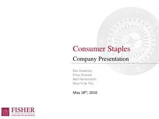 Consumer Staples Company Presentation