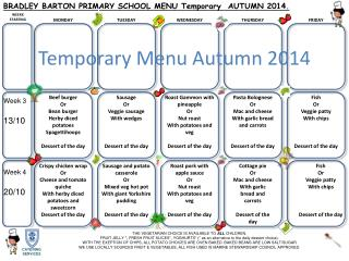 Temporary Menu Autumn 2014