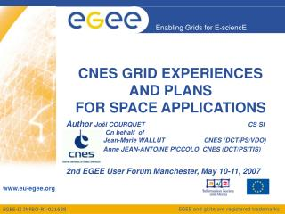 CNES GRID EXPERIENCES  AND PLANS  FOR SPACE APPLICATIONS