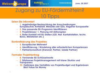 Zugang zu EU-Fördermitteln?  10  Tipps