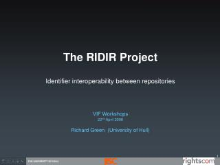 The RIDIR Project Identifier interoperability between repositories