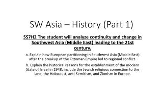 SW Asia � History (Part 1)