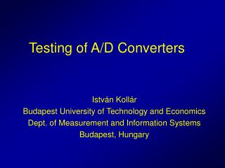 Testing of A/D Converters