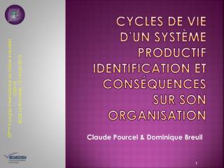 Cycles de vie d'un système productif  Identification et conséquences sur son organisation