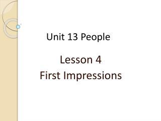 Unit 13  People