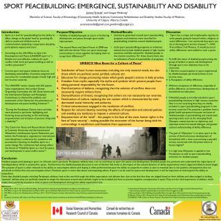 Sport  Peacebuilding : Emergence, Sustainability  and Disability