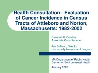 Health Consultation: Evaluation of Cancer Incidence in Census ...