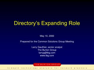 Directory's Expanding Role