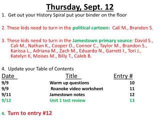 Thursday ,  Sept.  12