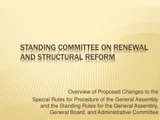 Standing Committee on Renewal and Structural Reform