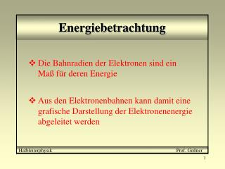 Energiebetrachtung