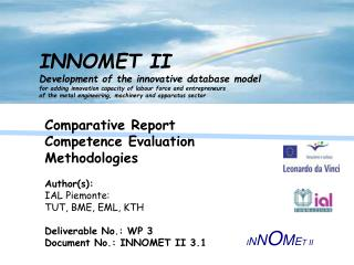 Comparative Report Competence Evaluation Methodologies  Author(s):  IAL Piemonte: