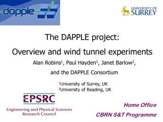 The DAPPLE project: Overview and wind tunnel experiments