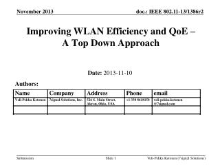 Improving WLAN Efficiency and QoE �  A Top Down Approach