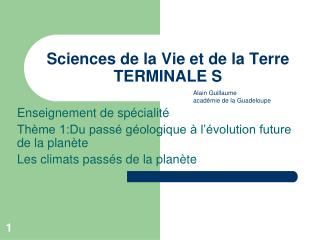 Sciences de la Vie et de la Terre TERMINALE S