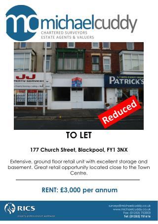 TO LET 177 Church Street, Blackpool, FY1 3NX