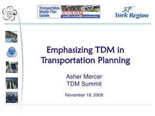 Emphasizing TDM in Transportation Planning