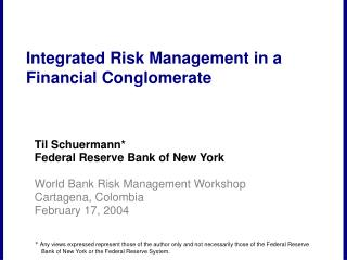 Integrated Risk Management in a Financial Conglomerate