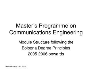 Master's Programme on Communications Engineering
